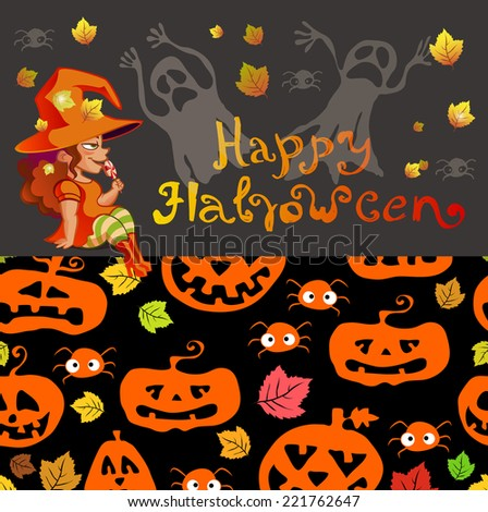 Halloween illustration with witch on pumpkin lantern, Holiday poster design, VECTOR - stock vector
