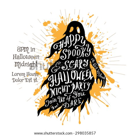 Halloween invitation banner with black shape of ghost and calligraphic holiday wishes. Halloween retro hand lettering poster. - stock vector