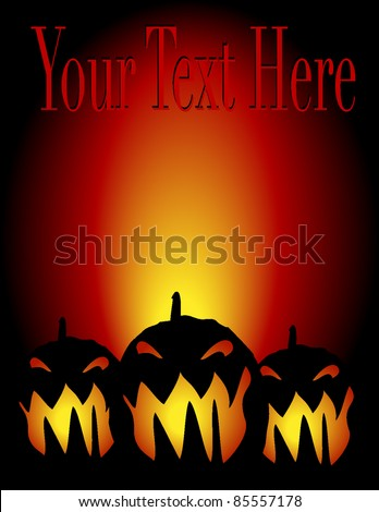 Halloween invitation, flyer or background with pumpkins - stock vector
