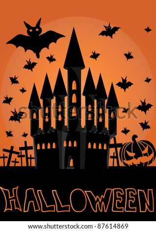 halloween invitation or background with castle and bats - stock vector