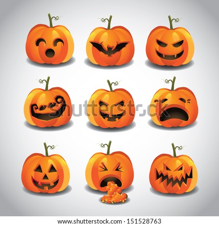 Halloween Jack O Lanterns. EPS 10 vector, grouped for easy editing. No open shapes or paths. - stock vector