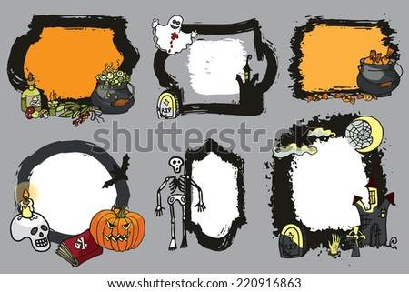 Halloween labels or sticker set with  spooky elements,grunge badges.Doodle design template ,invitations. Cartoon vector illustration - stock vector