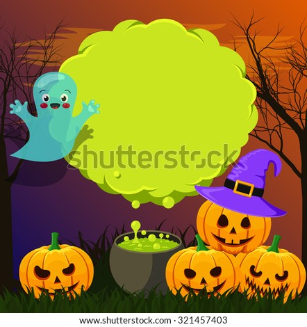 Halloween landscape with green speech bubble - stock vector
