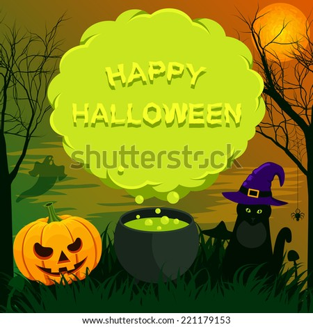 Halloween landscape with speech bubble - stock vector