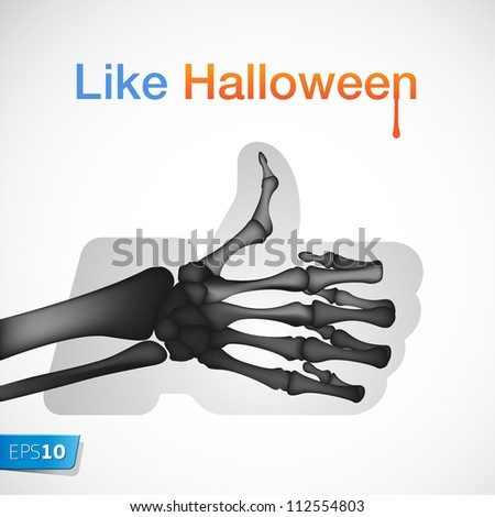 Halloween Like/Thumbs Up symbol, vector Eps 10 illustration. - stock vector