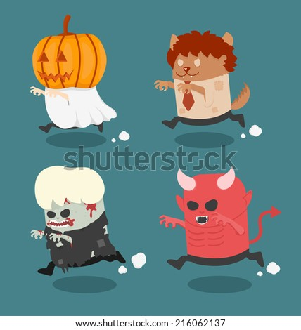 Halloween monster costume set 2 - stock vector