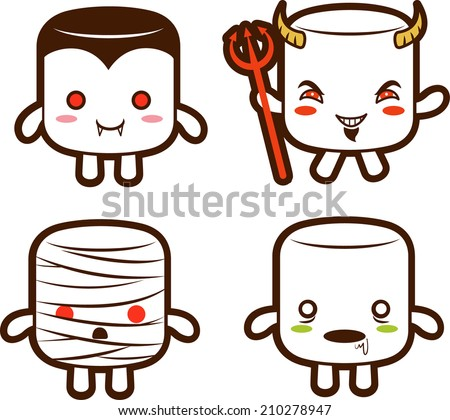 Halloween monster  marshmallow characters- Vampire, Devil, Mummy, and Zombie. EPS10 - stock vector