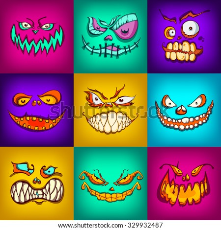 halloween monsters set, hand-drawing vector illustration, face square avatar collection,  pumpkin beast, smiley face icon - stock vector
