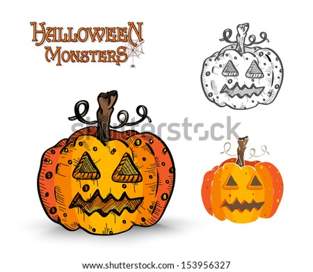 Halloween Monsters spooky pumpkin lanterns set. EPS10 Vector file organized in layers for easy editing. - stock vector