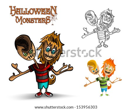 Halloween monsters spooky two heads zombies set. EPS10 Vector file organized in layers for easy editing. - stock vector