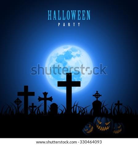 Halloween Moon Graveyard Tombstone Blue Graphic Design Vector Illustration EPS10 - stock vector