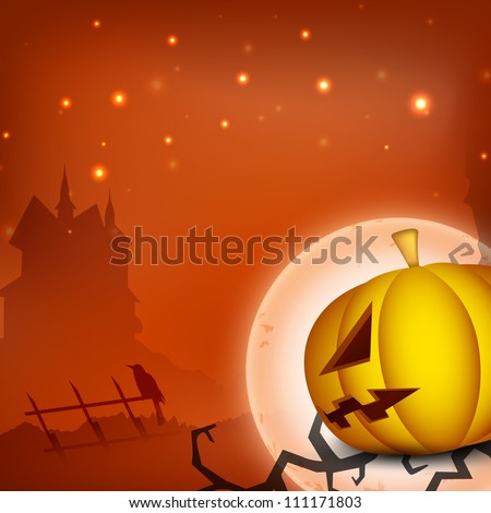 Halloween moon night background scary pumpkin and haunted house silhouette. EPS 10. - stock vector