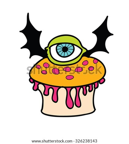 Halloween muffin with Eye and Bat wings - retro cartoon Halloween character - funny trick or treat cupcake with monster eye with bat wings. Hand drawn illustration. Eps 8. - stock vector