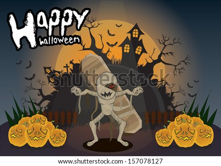 Halloween mummy - stock vector