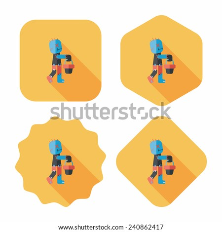 Halloween mummy flat icon with long shadow, eps10 - stock vector