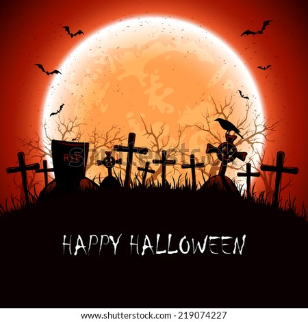 Halloween night at the cemetery with full Moon, illustration. - stock vector