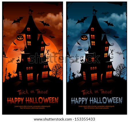 Halloween night background with haunted house and full moon. - stock vector
