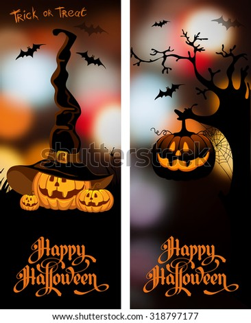 Halloween night blurred background with pumpkin and calligraphy inscription Happy Halloween. Vector illustration. - stock vector