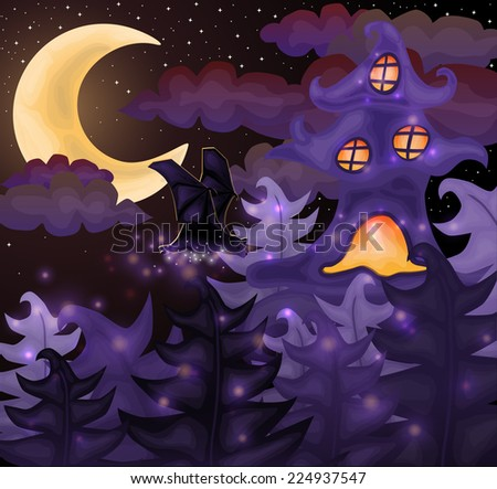 Halloween night wallpaper, vector illustration - stock vector