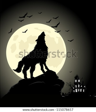 Halloween night wolf at moon - stock vector