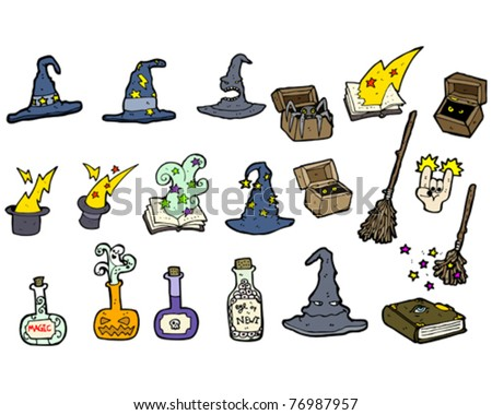 halloween objects cartoon collection - stock vector