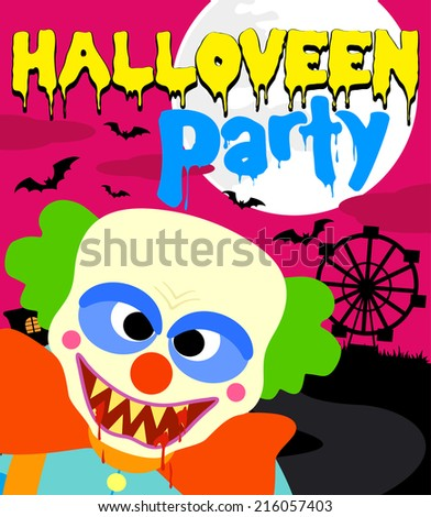 Halloween party background with clown ,pink - stock vector