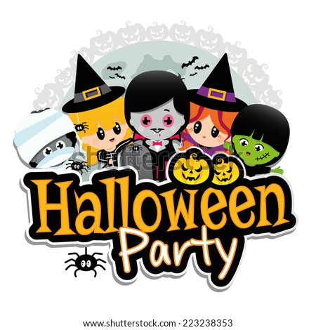Halloween Party Banner on a white background with children dressed in costumes as dracula, vampire, witches, frankenstein, mummies with pumpkins, spiders, bats and a full moon. - stock vector