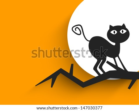 Halloween party banner, poster or background with black cat on dead tree branch.  - stock vector