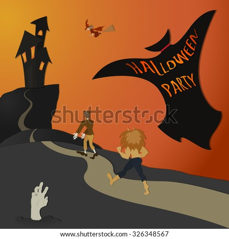 Halloween_Party - color - stock vector