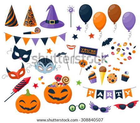 Halloween party colorful icons set vector illustration. Magic hat sweets masks balloon pumpkin rocket flag glasses, good for holiday design. - stock vector