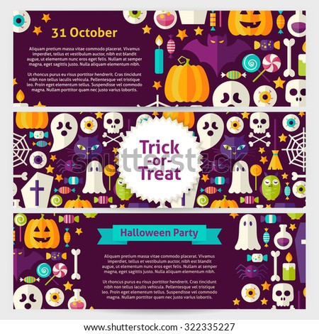 Halloween Party Concept Vector Template Banners Set. Flat Design Vector Illustration of Brand Identity for Halloween Holiday Promotion. Trick or Treat Colorful Pattern for Advertising - stock vector