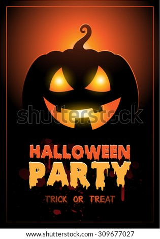 Halloween Party Design template background with pumpkin and place for text - stock vector