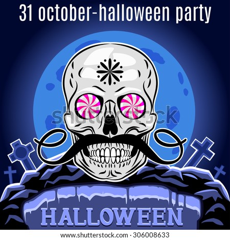Halloween Party design template for poster. Funny skull. Vector - stock vector