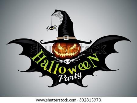 Halloween party,drawn Halloween symbols pumpkin,logo design, vector illustration - stock vector