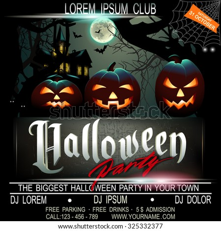 Halloween party flier template. Vector illustration