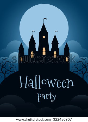 Halloween party flyer template. Castle on the moonscape background - stock vector