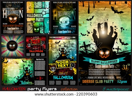 Halloween Party Flyer with creepy colorful elements with a black portion of background for your text. - stock vector