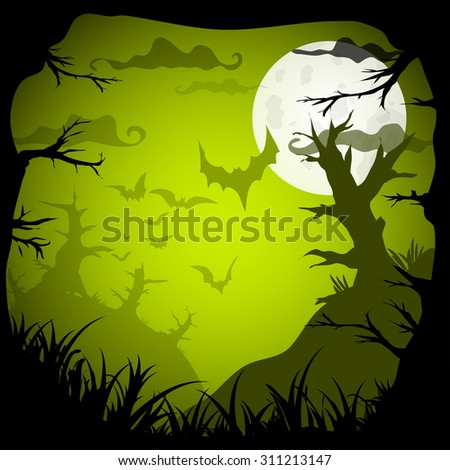 Halloween Party Green Old Movie Style  Background. Vector illustration - stock vector