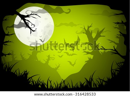 Halloween Party Green Old Movie Style Poster Background. Vector illustration - stock vector
