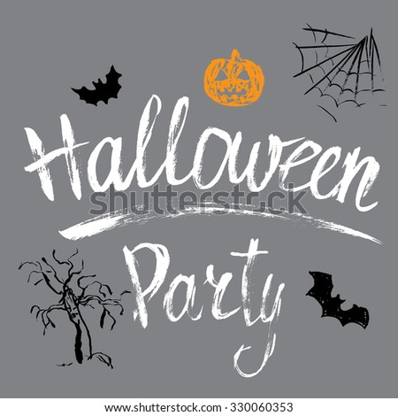 Halloween party hand drawn invitation with pumpkin, bats and spiderweb. - stock vector