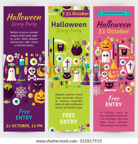 Halloween Party Holiday Invitation Template Flyer Set. Flat Design Vector Illustration of Brand Identity for Halloween Promotion. Trick or Treat Colorful Pattern for Advertising - stock vector