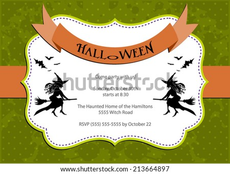 Halloween Party invitation. green polka dot background with witch and bats. Vector eps10, illustration. - stock vector