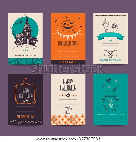Halloween party invitation, greeting card, flyer, banner, poster templates. Hand drawn traditional symbols, cute design elements, handwritten ink lettering. Vector collection. Isolated. - stock vector