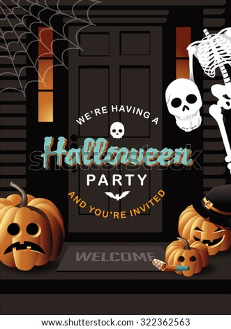 Halloween party invitation house with jack o lanterns and skeleton EPS 10 vector illustration for advertising, marketing, poster, flyer, web page, greeting card, invitation, event, announcement, email - stock vector