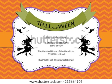 Halloween Party invitation. light orange chevron background with witch and bats. Vector eps10, illustration. - stock vector