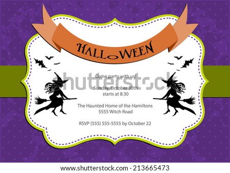 Halloween Party invitation. purple polka dot background with witch and bats. Vector eps10, illustration. - stock vector