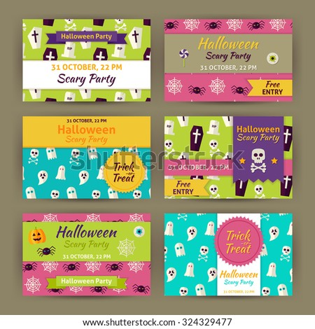 Halloween Party Invitation Template Set. Flat Design Vector Illustration of Brand Identity for Halloween Promotion. Trick or Treat Colorful Pattern for Advertising - stock vector