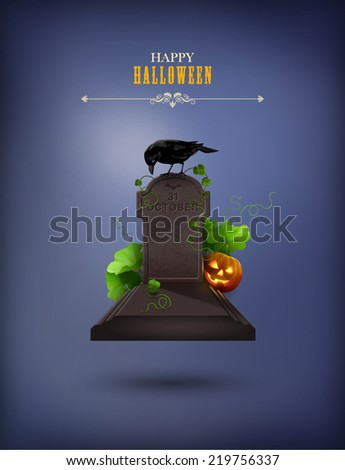 Halloween Party Invitation with grave, Raven, gravestone, pumpkin - stock vector