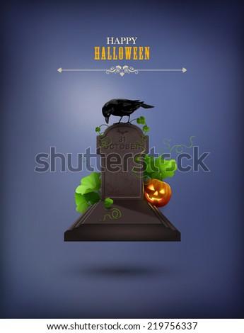 Halloween Party Invitation with grave, Raven, gravestone, pumpkin - stock vector