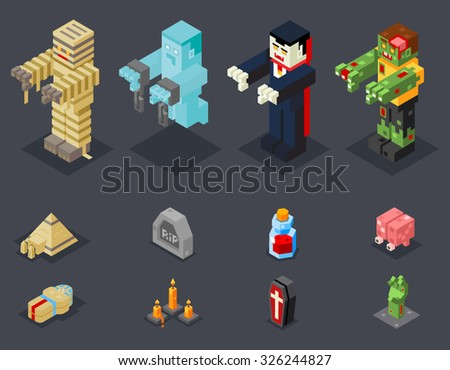 Halloween Party Monster Role Character Bust Icon Set Stylish Background Flat Design Greeting Card Template Vector Illustration - stock vector